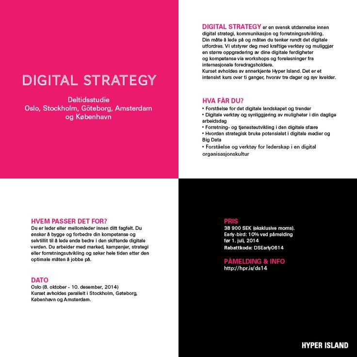 Digital Strategy, Kurs med Hyper Island i Oslo  starter oktober 2014.   Info: https://www.hyperisland.com/programs-and-courses/digital-strategy   For mer info kan du også kontakte meg Vivi Hatlem   #digitalstrategi #digitalstrategy #HyperIsland