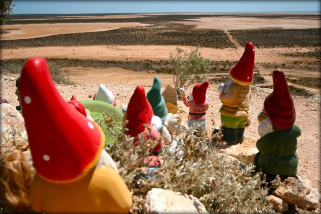 Gnomes on the lookout in Carnarvon, Western Australia