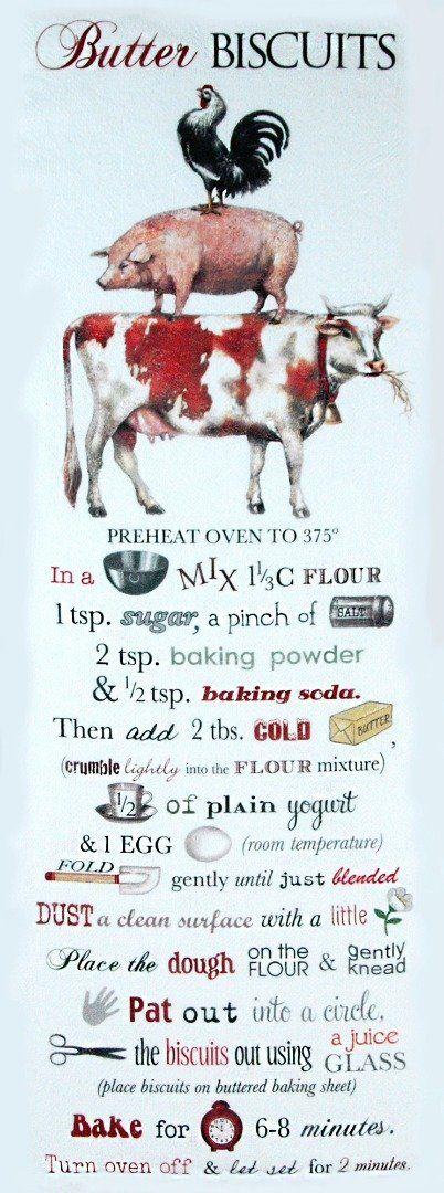 Butter Biscuit Recipe Flour Sack Kitchen Towel