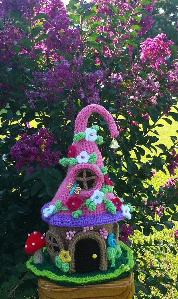 A Crochet Handmade Fairy / Gnome House Garden Home by emcrafts