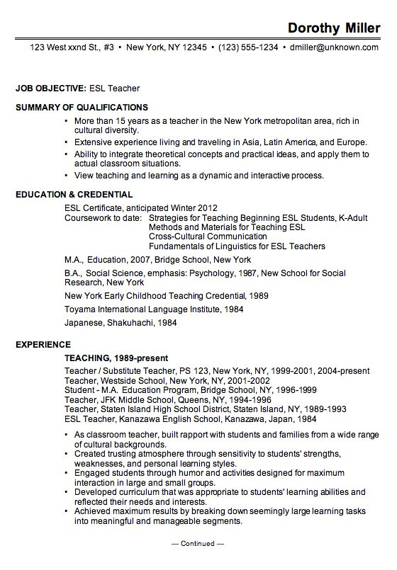 a chronological resume example for an esl english as second language teacher chronological resume is the best format for a teaching resume - Resume Format For Professional