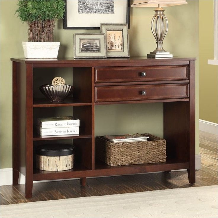Linon Wander Media Stand in Cherry Finish - 770003CHY01U