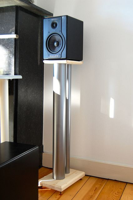 Diy Speaker Stands Made From Wood And Pvc Pipes Filled
