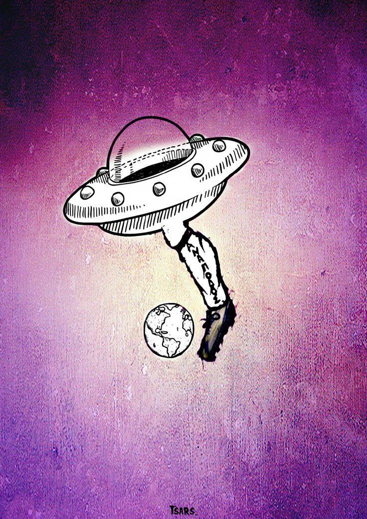 UFOotball Ανάποδος Χαλκίδας Το σχέδιο αυτό έγινε για αφίσα ποδοσφαιρικής αντιφασιστικής ομάδας. Ανάποδος Χαλκίδας.