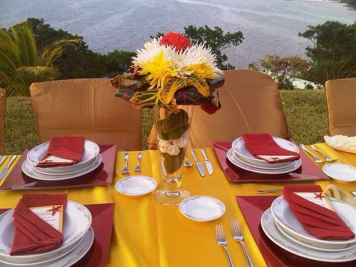 Red And Yellow Wedding Reception