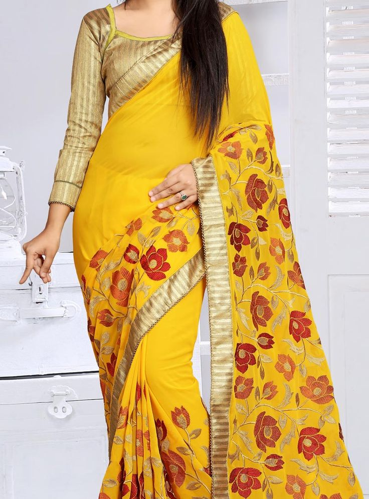 Yellow Georgette Saree With Blouse 88956