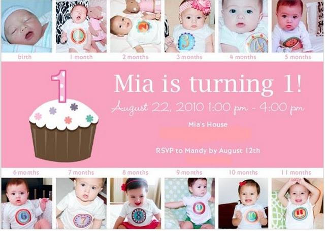 Monthly Baby Photos on First Birthday Party Invitation