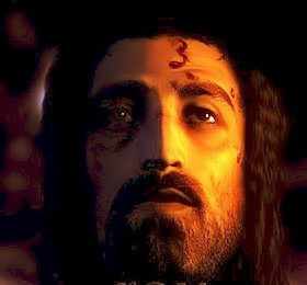 "Jesus' face as recreated in 3D, scientifically from the Shroud of Turin (from the documentary ""The Real Face of Jesus?"" on The History Channel) - I believe Jesus had green eyes tho."