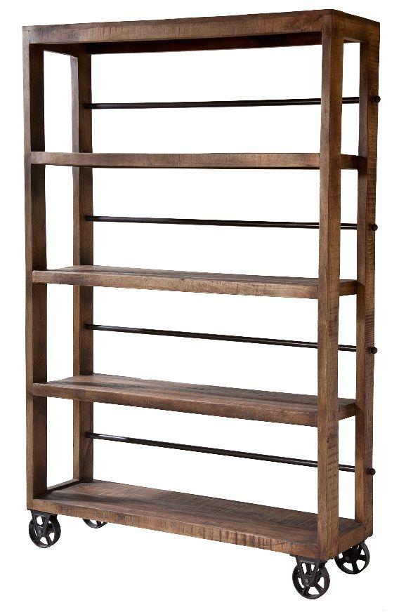 12341 - Hayden Rolling Wood Shelving Unit