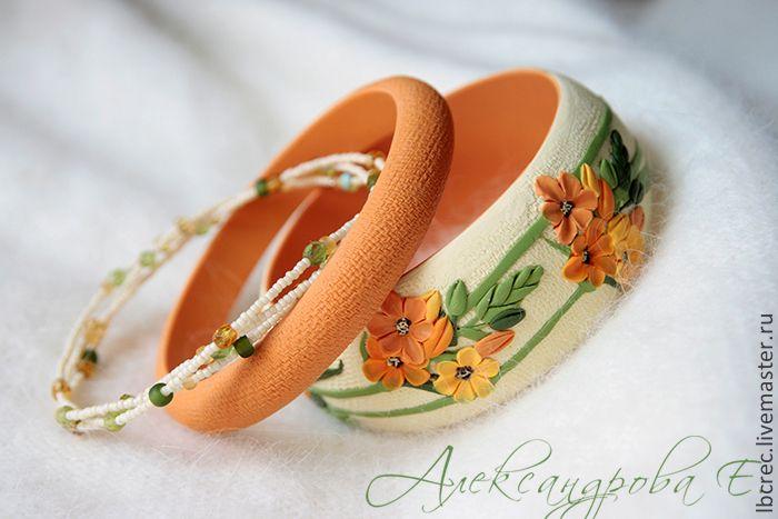 """Купить Комплект браслетов """"Птицемлечник"""" - оранжевый, цветочный, рыжий, яркий, зелёный, летний, солнечный, растительный"""
