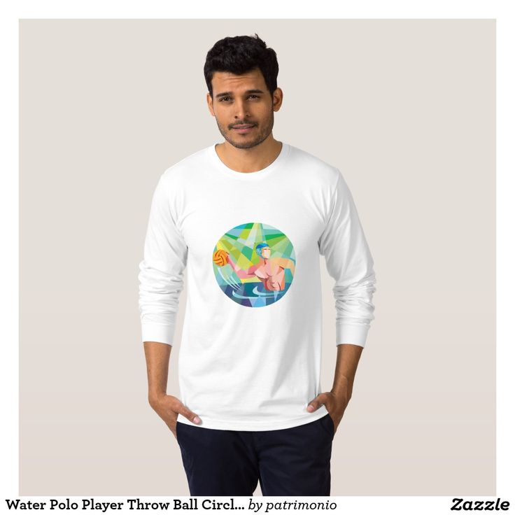 Water Polo Player Throw Ball Circle Low Polygon. 2016 Rio Summer Olympics men's long sleeve shirt with a low polygon style illustration of a water polo player throwing the ball viewed from the side set inside a circle. #waterpolo #olympics #sports #summergames #rio2016 #olympics2016