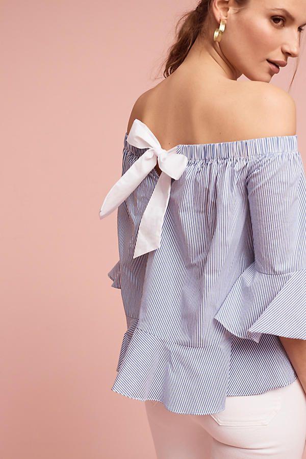 Off-the-Shoulder Bow Stripe Top