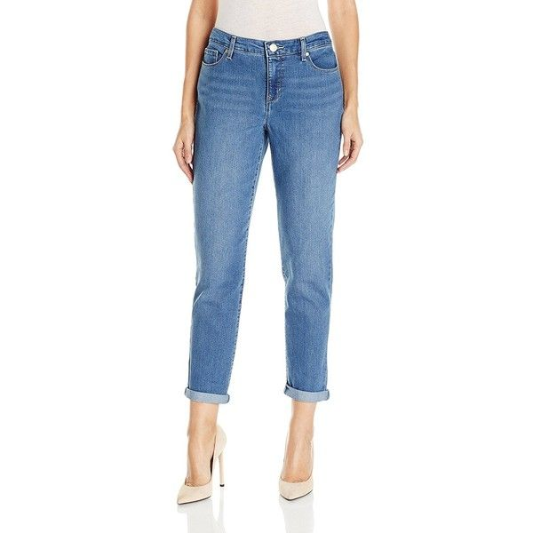 Gloria Vanderbilt Women's Monica-Roll-Cuff Ankle Jean (650 CZK) ❤ liked on Polyvore featuring jeans, relaxed fit jeans, short pants, boyfriend ankle jeans, ankle length jeans and relaxed fit boyfriend jeans