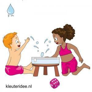 Waterspelletjes voor kleuters, kleuteridee , spel 10, Zes splash! Bak met water, dobbelsteen, wie zes gooit mag met hand in water slaan.