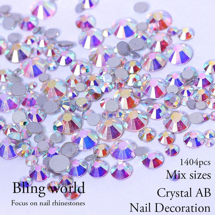 Kristal Dan Kristal AB Campuran Ukuran Nail Art Rhinestones Untuk Kuku Dekorasi Tas pakaian dan sepatu