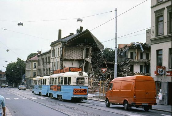 the tram, house being torn down