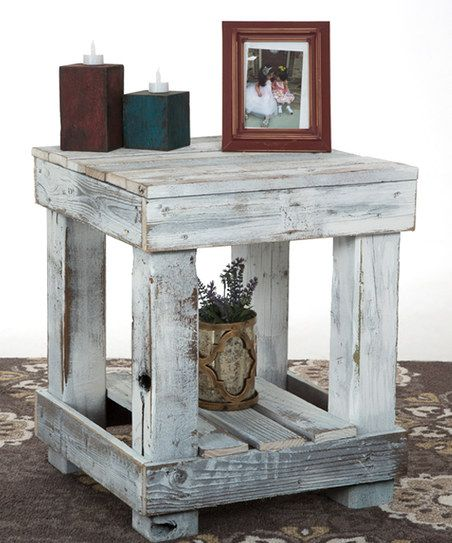 DelHutson Designs White Distressed End Table | zulily