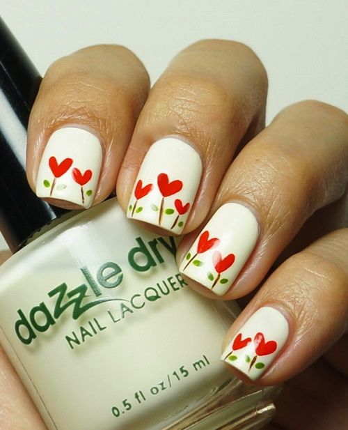 Heart flowers Nail art  #Valentines day #ideas