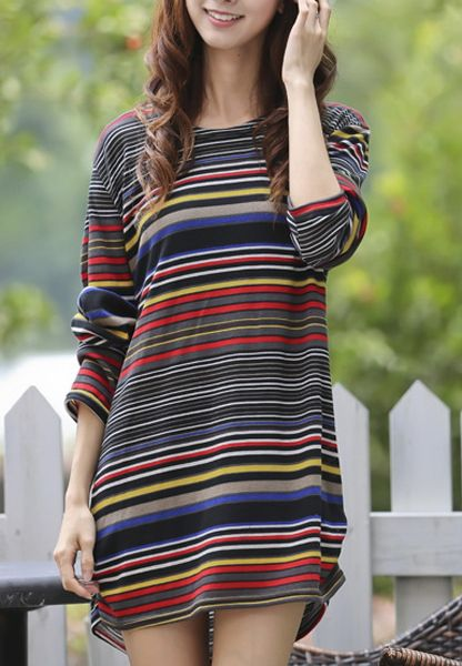 Brief Scoop Neck Colored Striped Long Sleeve T-Shirt For Women