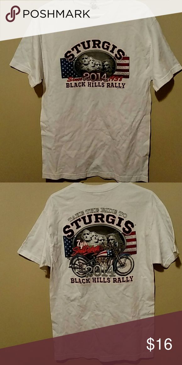 STURGIS 2014 Tshirt Size Large Nice Make Offer This is a Sturgis T-shirt dated 2014..black hills rally..in great condition..sold as is no returns..size large..no holes or stains will accept reasonable offer.bundle 3 or more items from my closet and recieve 30 percent off your total. Quick shipping. Wrinkled a bit..make offers Tops Tees - Short Sleeve