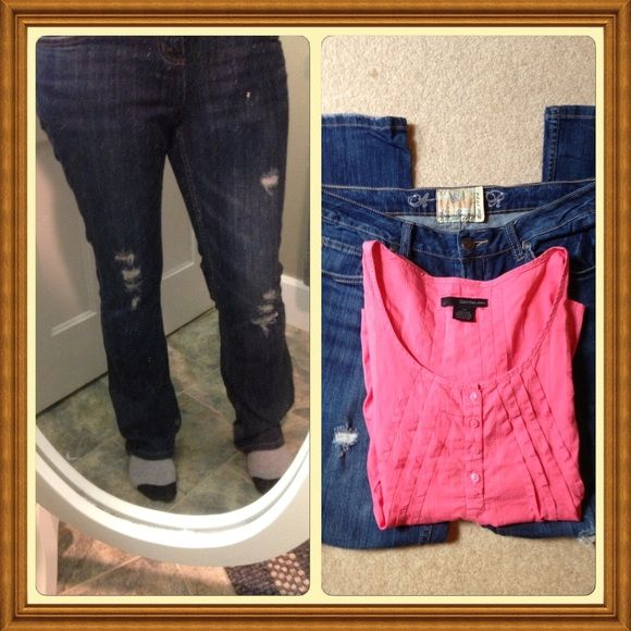 """American Rag jeans Great pair of preloved American Rag jeans with very minimal wear. 99% cotton 1% spandex for a slight stretch and comfortable fit. 30"""" inseam and 9"""" cuff. Size is 9R. Great pair of jeans! Ask specifics. Top included free! American Rag Jeans"""