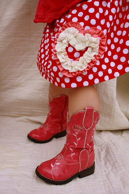 Be My Valentine Skirt {Tutorial}Little Girls, Skirts Tutorials, Polka Dots, Cowboy Boots, Little Red, Red Boots, Valentine Skirts, Barefoot Seamstress, Cowgirls Boots