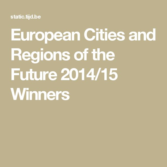 European Cities and Regions of the Future 2014/15 Winners