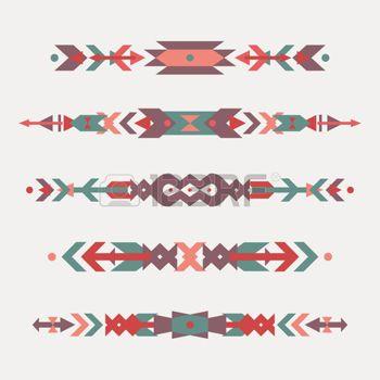 art amÉrindien: Vector set des frontières ethniques décoratifs avec des motifs amérindiens. Le style Boho. Tribaux éléments de conception.