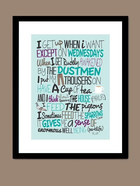 Blur  Parklife / Song Lyric Typography Poster by CreativePrint, £10.00