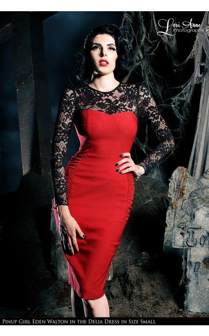 Laura Byrnes California- Vintage Goth Pinup Capsule Collection- Delia Dress in Red | Pinup Girl Clothing