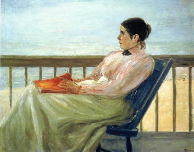 The Artist's Wife at the Beach (1895). Max Liebermann (German, 1847-1935). Oil on canvas. Klassik Stiftung Weimar. Martha Liebermann is holding a book in her lap lost in thought, perhaps thinking over what she has read. Martha is sitting on the...
