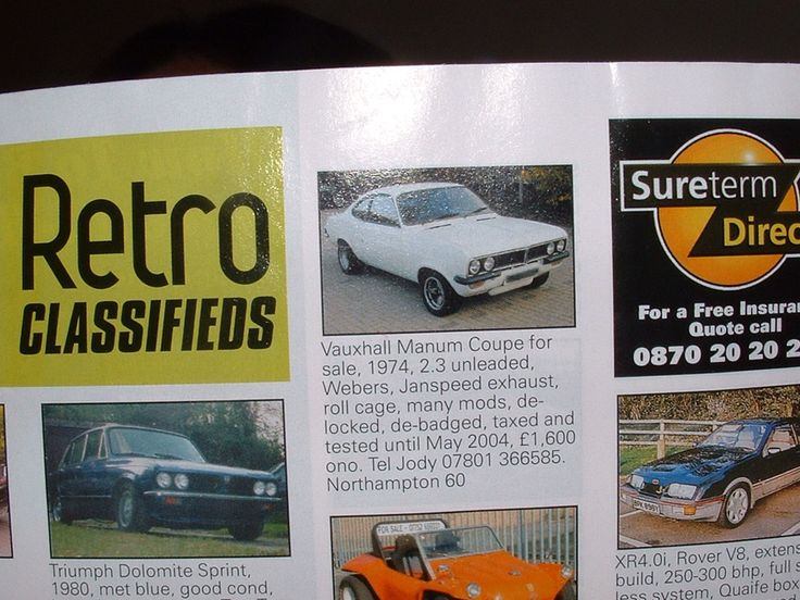 My 1974 Vauxhall Magum 2300 for sale in Retro Cars magazine approx 2001 (I sold it in 94)