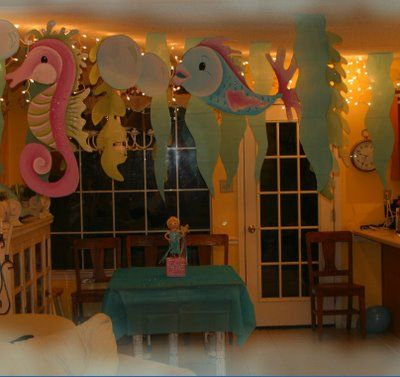 Sydney would LOVE a mermaid/aquatic themed birthday party. Shes obsessed with mermaids and fish.