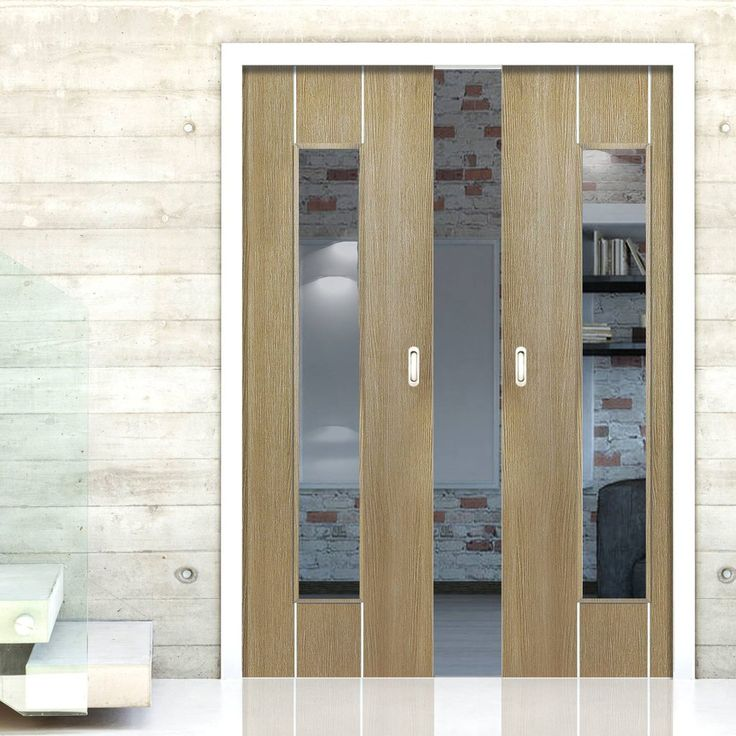 Double Pocket Nuance Arabica Coffee sliding door system in three size widths with clear glass. #glazedpocketdoors #internalpocketdoors #pocketdoorpair