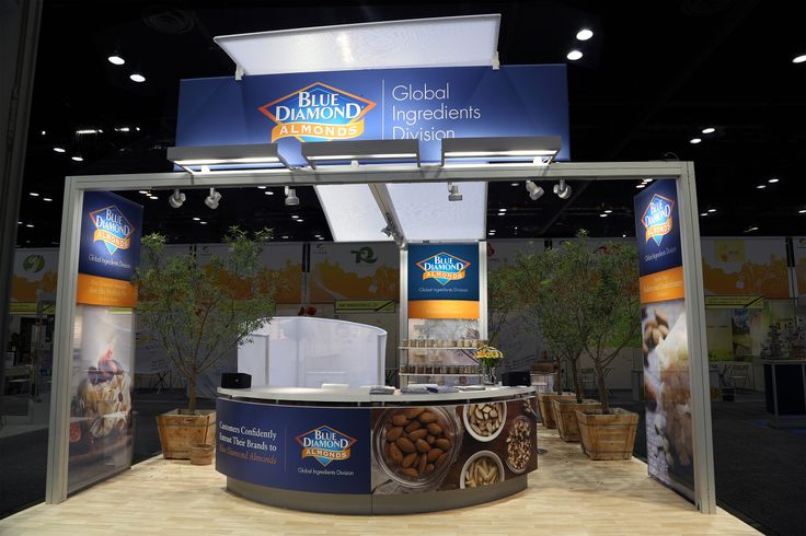 Blue Diamond was looking to make a lasting impression at the IFT Annual Meeting & Food Expo. Having attended the show before, Blue Diamond wanted to start fresh with a 20'× 20' space and a remarkable idea for a new booth. MG customized the design by using trees to create a feeling of being completely removed from the show and transported into a California almond orchard. This little orchard creatively personalized a unique private seating area used to engage attendees. www.mgdesign.com