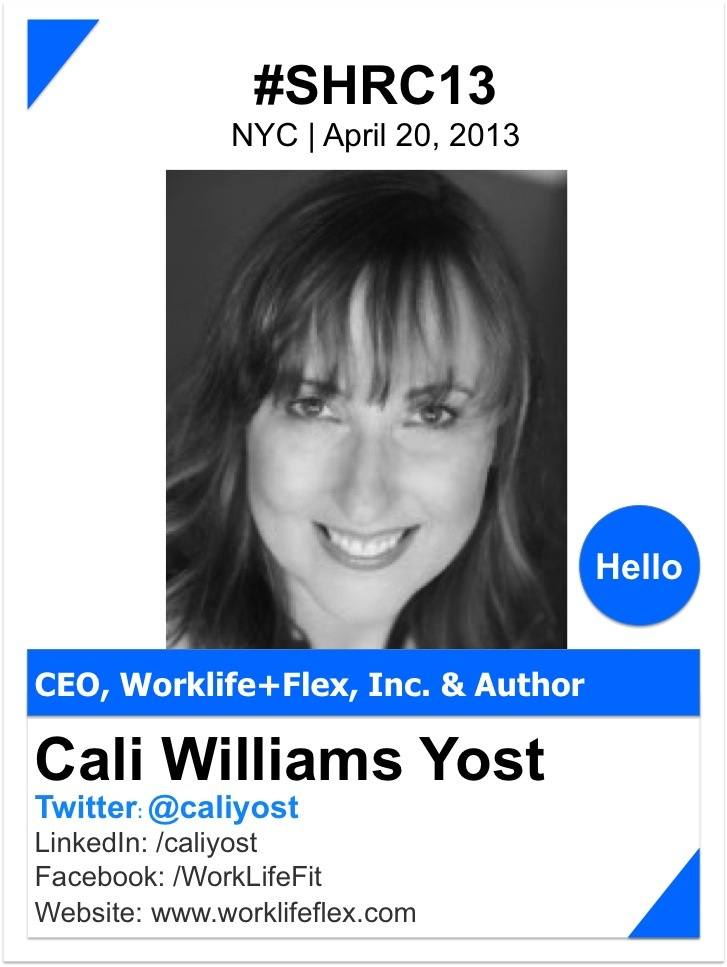 """@Cali Yost / TWEAK IT Together    Called """"one of the smartest, sophisticated thinkers"""" by the New York Times and one of Mashable's Top 14 Career Experts on Twitter, Cali Williams Yost has been a pioneering expert on managing work and life in the new economy for nearly two decades.     http://www.flexstrategygroup.com"""