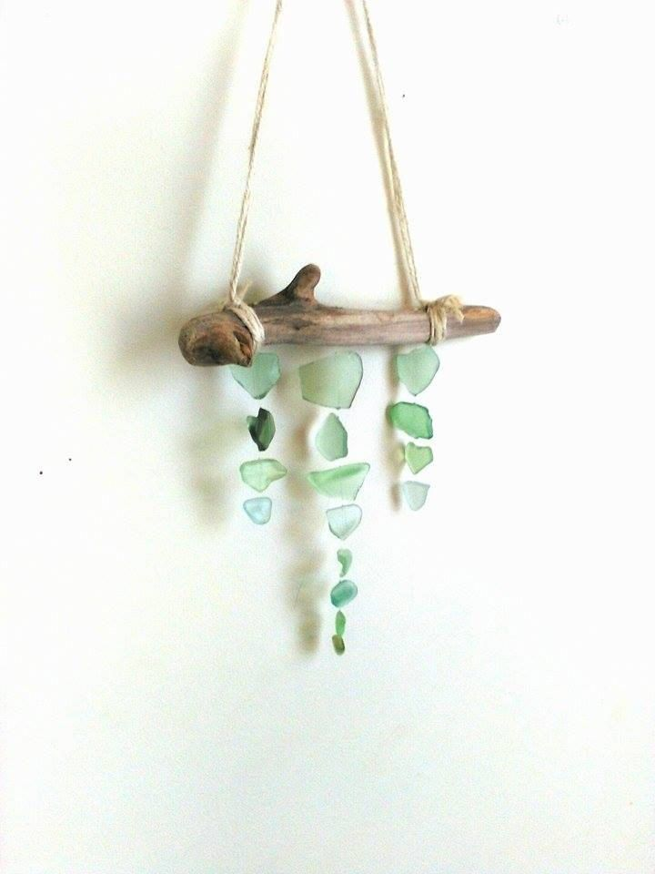 Sea foam sea glass mobile// Sea glass// Sea glass art// Driftwood mobile by RedIslandSeaGlass on Etsy