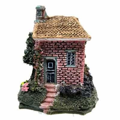 Enfeite De Resina Para Aquário Mini  Casa Vermelha Ch-1545 - R$ 14,30