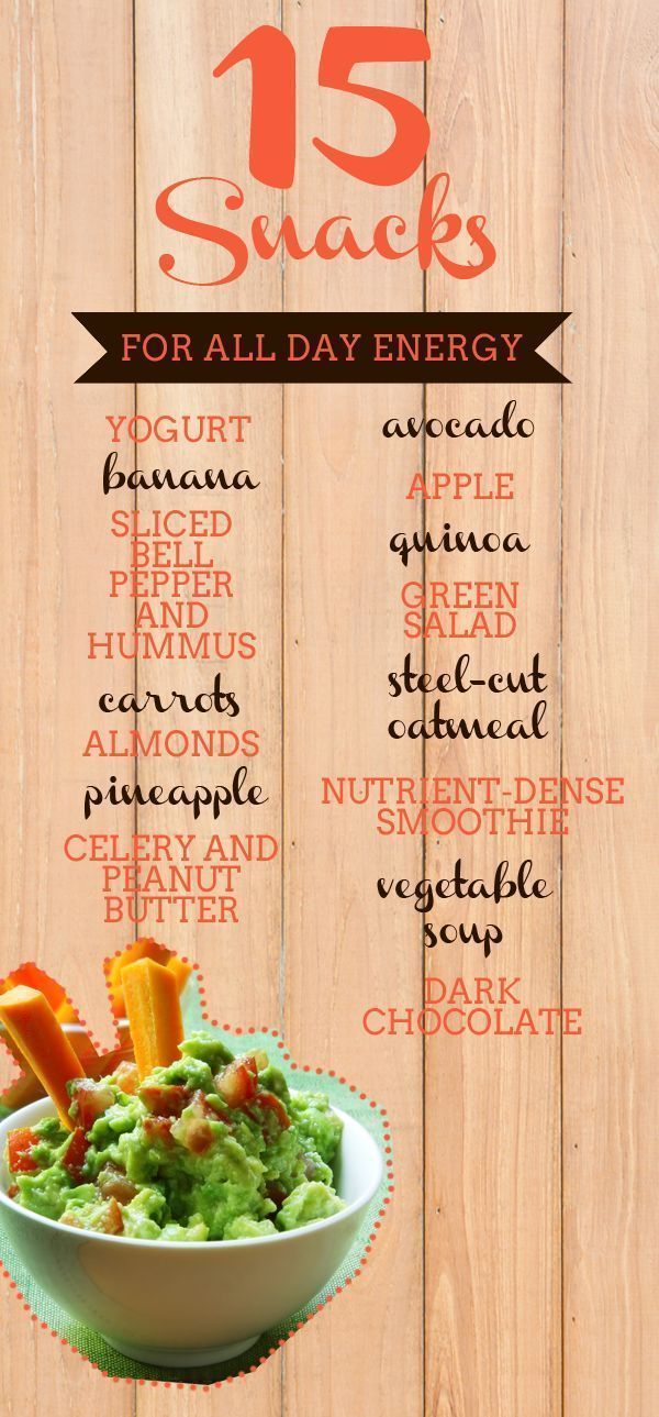 15 Snacks for All-Day Energy... Can you believe chocolate is on this list?! :)