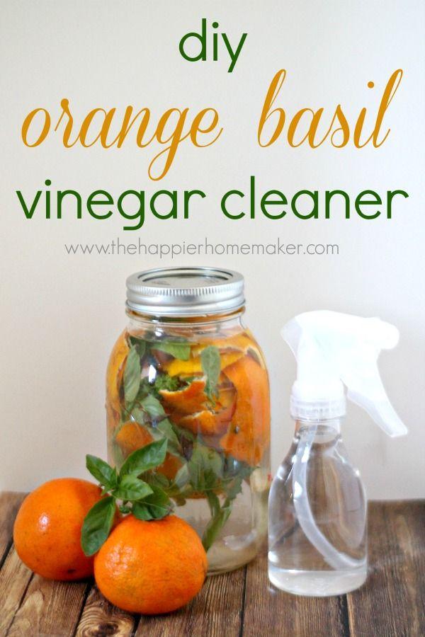DIY Orange Basil Vinegar Cleaner