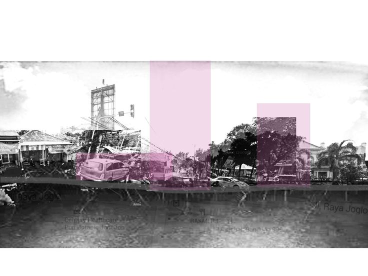A section of a part of Joglo, located in the middle of Joglo Raya. The purple square tells where interaction of objects in that place happened the most; passenger, driver, transportation, etc