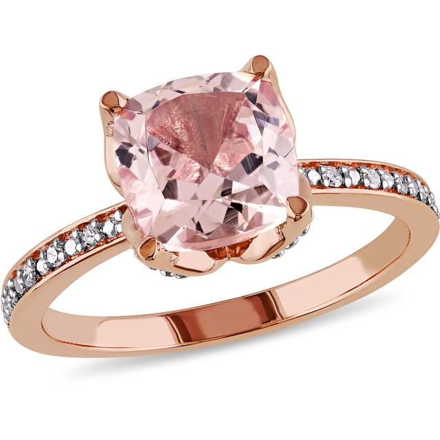 Sofia B 2 CT TW Morganite and Diamond Accented Fashion Ring in 10K Rose Gold