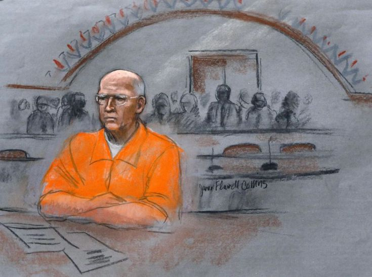 """In this courtroom sketch, James """"Whitey"""" Bulger sits at his 2013 sentencing…"""