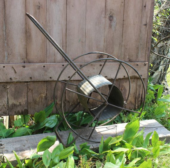 Antique Wrought Iron Hose Reel Old Garden by BlackRhinoVintage