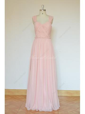 vestidos de dama de honor en color rosa de gasa
