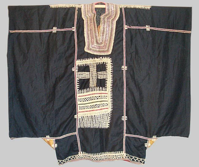 Yemani (Iran) wedding dress, early 20th C. Warp faced cotton with silk couching and woven metal thread.