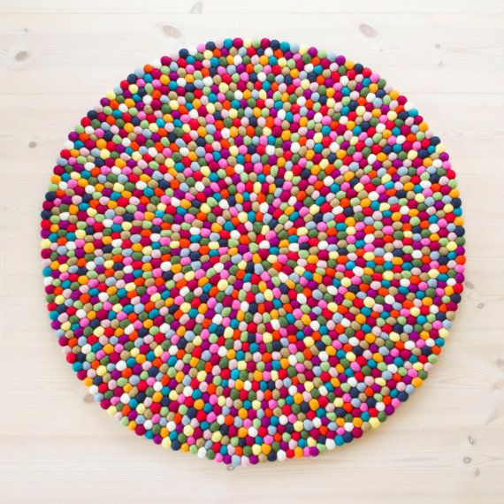 Felt ball rug  Multicolor Fast Shipping van UnaLiving op Etsy