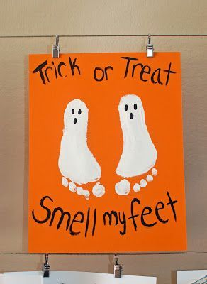DIY Halloween kids crafts with hands and feet. Cute!