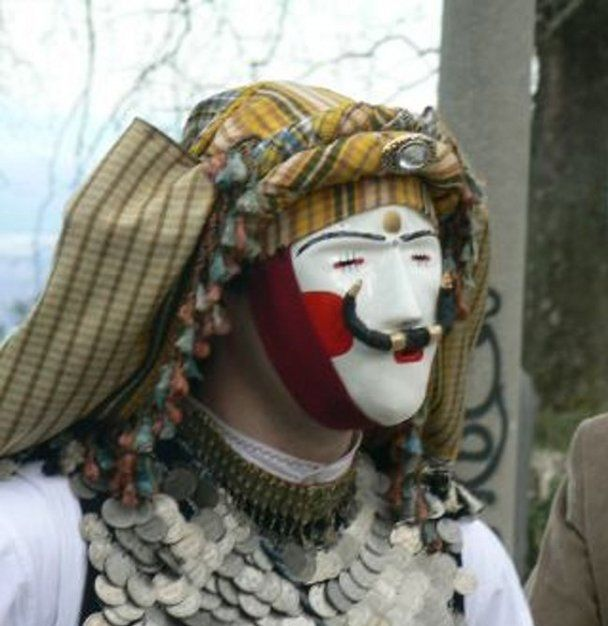 The mask (Pròsopos) is the most important element of the costume used for the 'Boules' traditional carnival custom in Naoussa, Imathia, Northern Greece.The exact history of this custom is not clear, but there are many indications that it is connected with the ancient festivals for welcoming spring during which Dionysus, the ancient Greek god of wine, was honoured.Groups of dancers follow standard routes across the city and start rituals that still adhere to the same routes of their ancestors