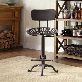 Joren Grey Cast Iron Tractor Seat Stool With Back - 19347252 - Overstock.com Shopping - Great Deals on Bar Stools